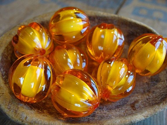 Orange Pumpkin Shaped Beads by BrillBeads on Etsy, $2.25