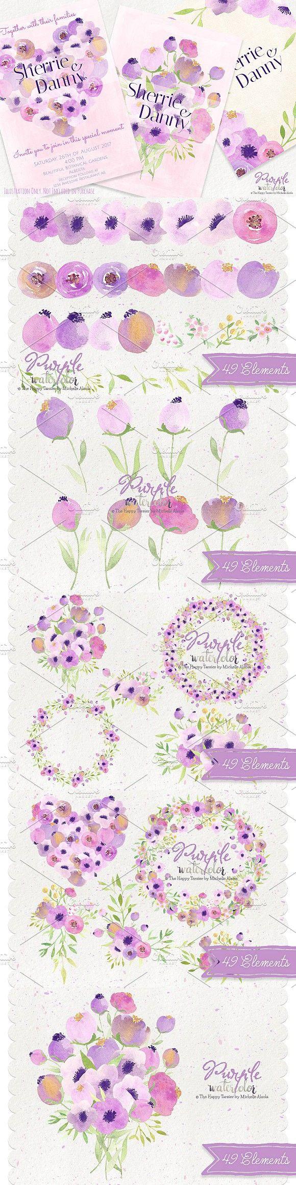 watercolor purple flower clipart watercolor graphic design pinterest flower clipart [ 580 x 2316 Pixel ]