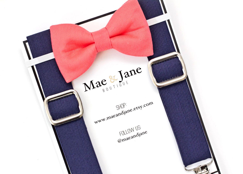 boys bow tie and suspenders set coral boys bow tie with navy blue suspender wedding bow tie suspenders set
