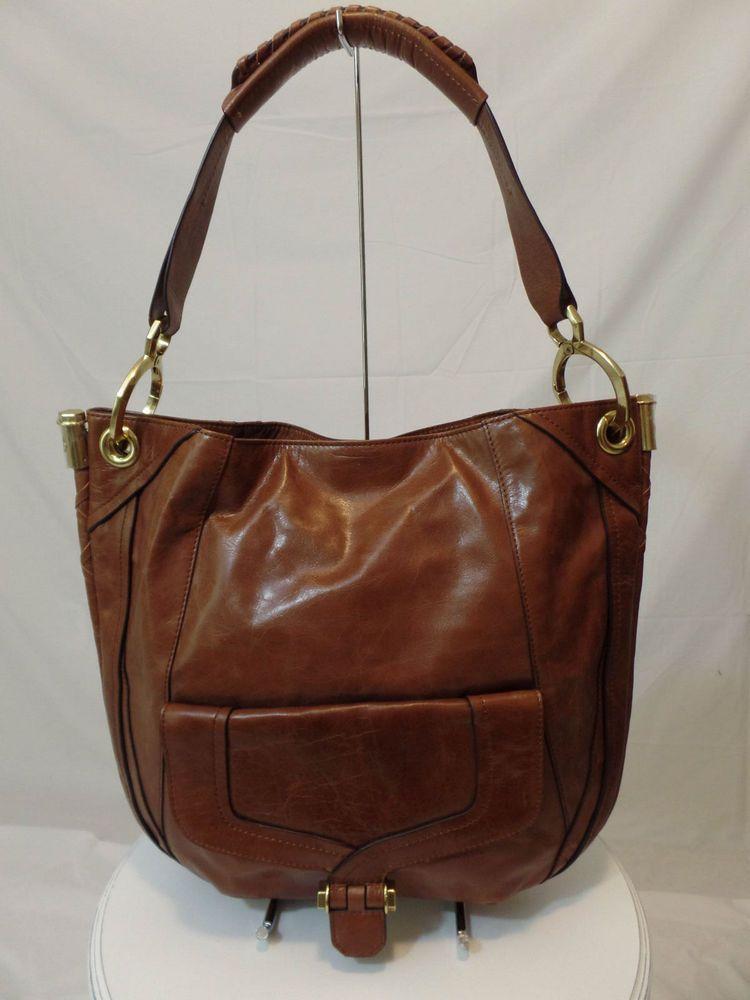 Cognac orYANY Glazed Leather Camilla Hobo  #orYANY #Hobo