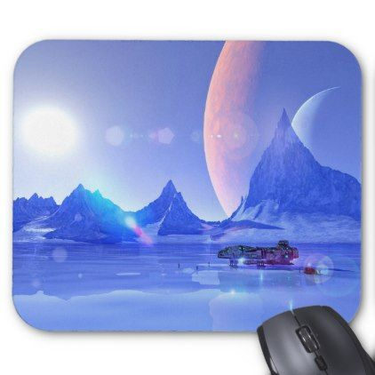 Exploring an Ice Planet Sci-Fi Art Mouse Pad  $12.25  by TropicalToad  - cyo diy customize personalize unique