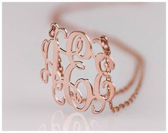 Rose gold monogram necklaces .  From $149.00