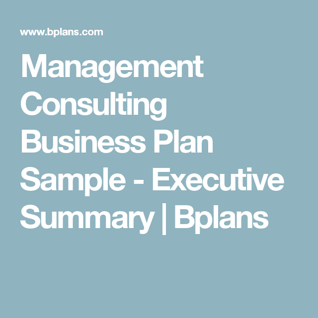 Management Consulting Business Plan Sample