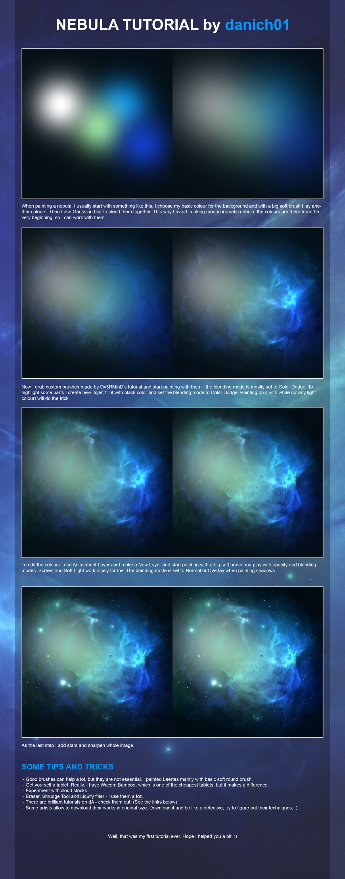 Nebula Tutorial By Danich01 On Deviantart Digital Painting Tutorials Digital Painting Digital Art Tutorial