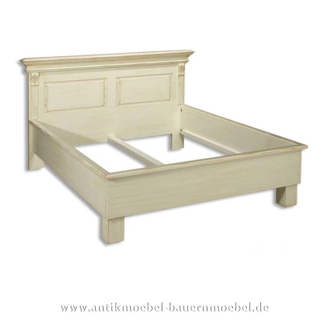 Bett Bettgestell 160x200 Landhausstil Shabby Chic Massiv