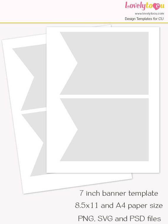 Pennant flag banner template 7 inch banner printable diy