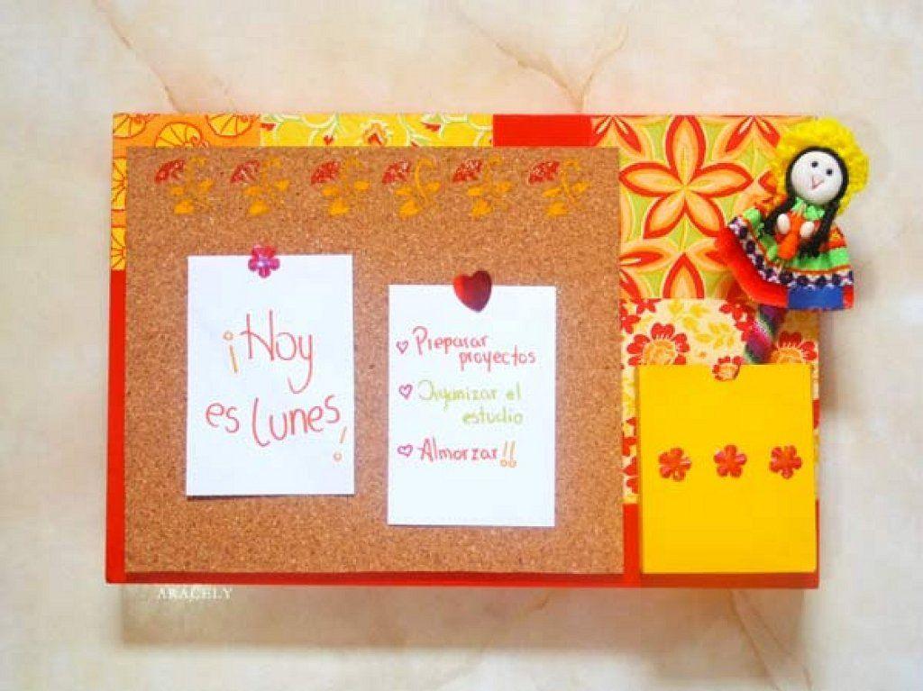 Tablero de corcho decorado con papeles | Pinterest | Tablero de ...