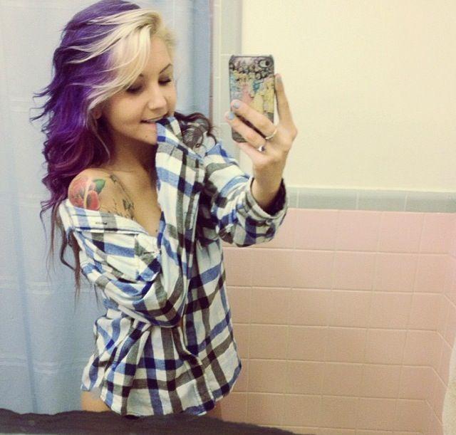 Blonde And Purple Scene Hair 55