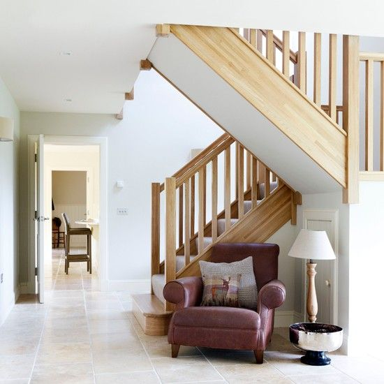 Take A Peek At This Gallery Of Linoleum Flooring Ideas: Open-plan Hallway With Limestone Flooring