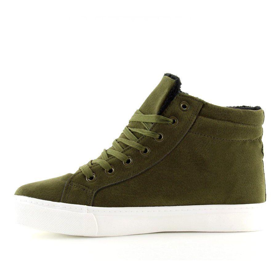 Trampki Za Kostke Ocieplane Zielone W 3072 Sneakers Shoes High Top Sneakers