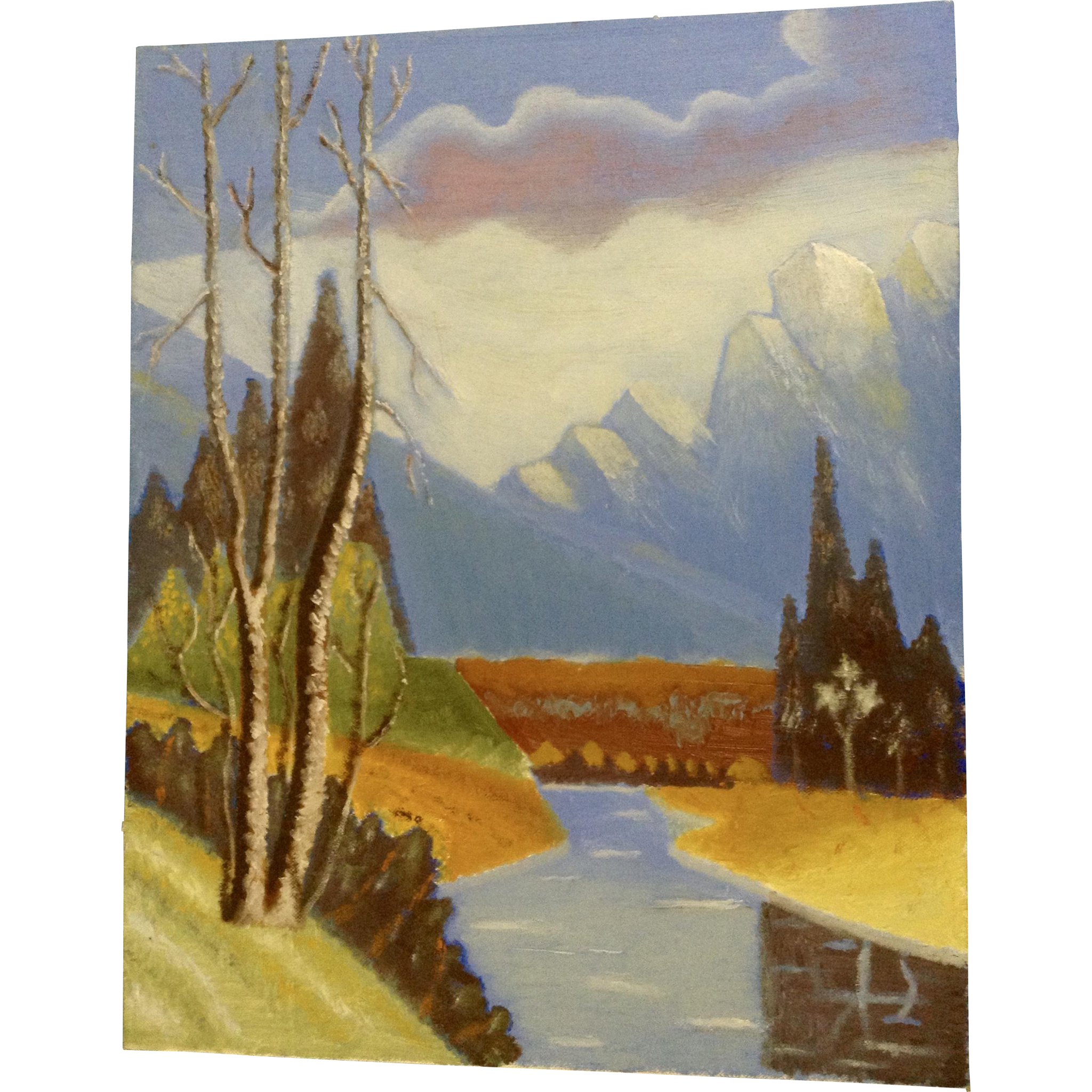 Watercolor artist in texas - Ernest G Lucas Oil Painting On Board Mount Rainier With River Signed By Texas Artist