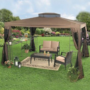 Amazon Com Brylanehome 10 X 12 Rectangular Gazebo With Bar Shelf Patio Lawn Garden 270 00 Outdoor Canopy Gazebo Canopy Outdoor Backyard Canopy