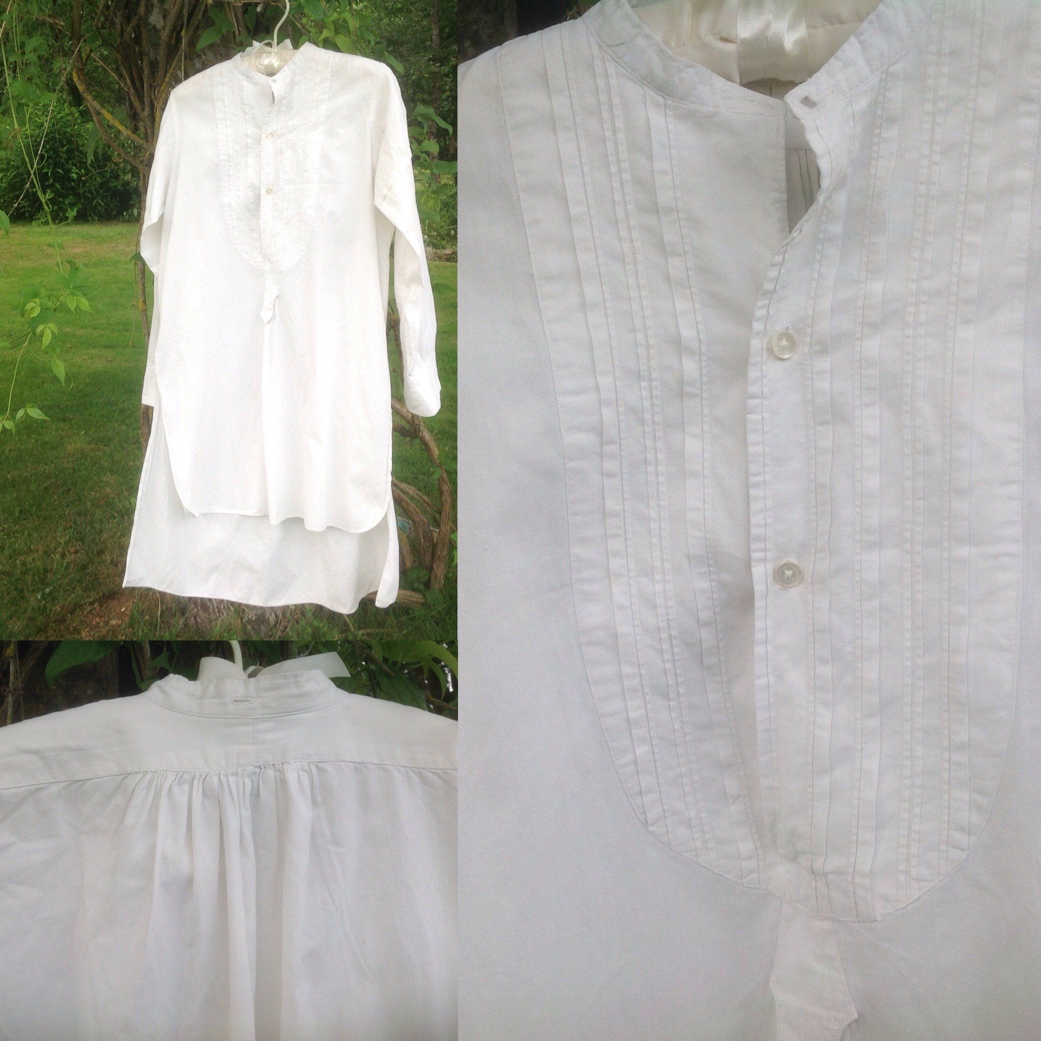 Antique French White Cotton Bib Front Pintucked Dress Shirt Lovely Vintage Shirt With Bottoned Tab Beautifully Handmade 14 Neck Vintage Shirts Shirt Dress Fashion