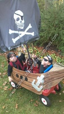 Homemade Pirate Ship Costume Our 3 year old decided he wanted to be a pirate for Halloween so we bought both him and his 1 year old younger brother ... & Pirate ship | Halloween/fall | Pinterest | Pirate ships Epic ...