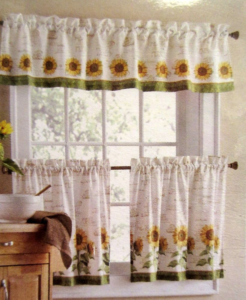 Sunflowers 3 Piece 24l Tiers Valance Set Kitchen Curtains Kitchen Curtains And Valances Sunflower Kitchen Decor Kitchen Curtains