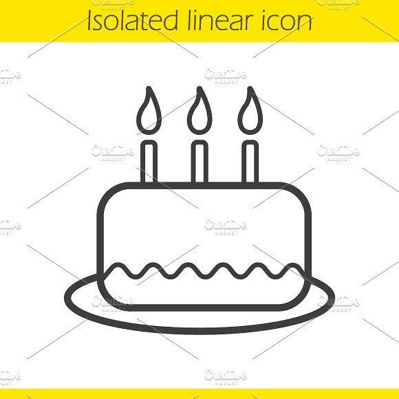 Birthday Cake Linear Icon Vector By Icons Factory On
