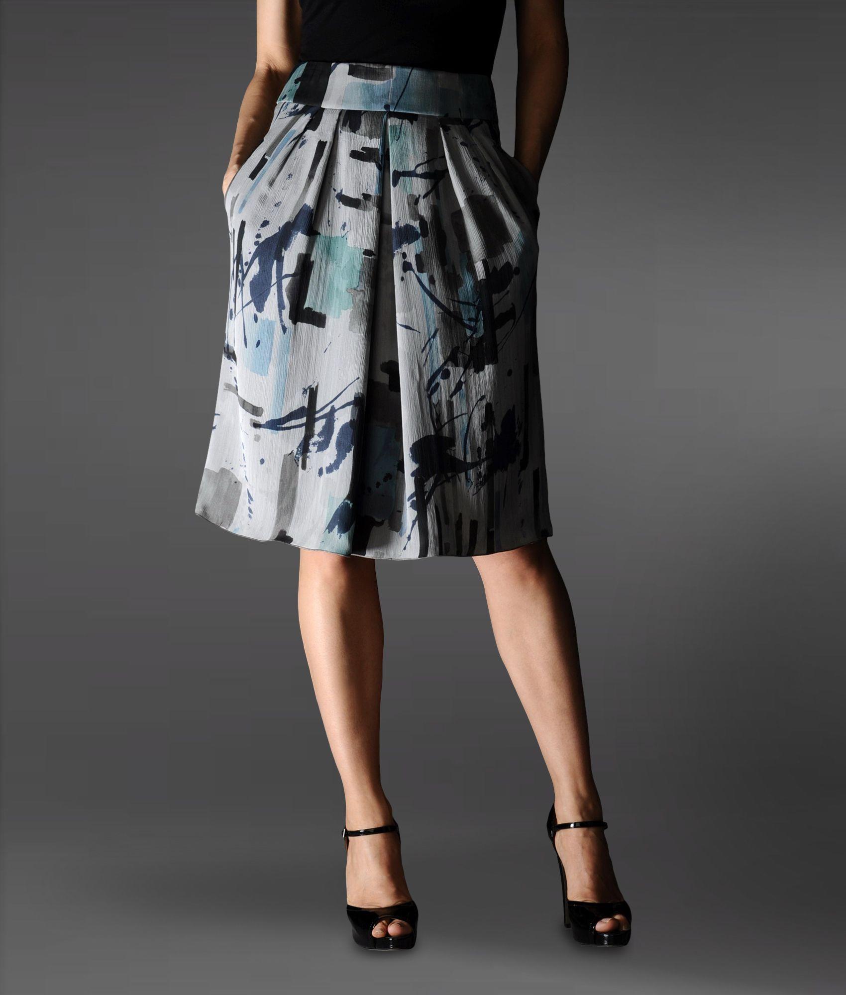 Women\'s Gray 3/4 Length Skirt | Grey light, Lafayette 148 and Black ...