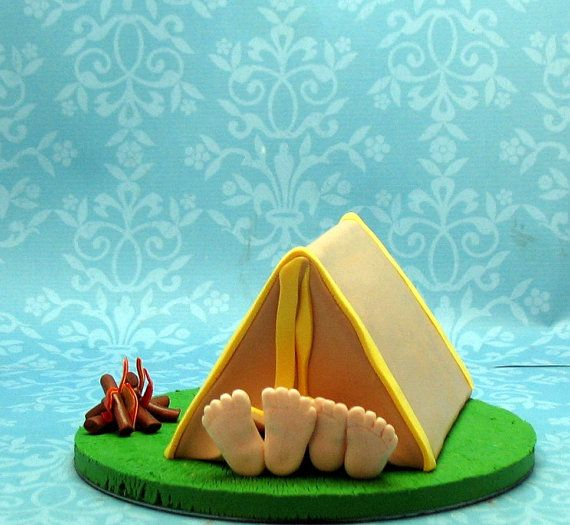 Camping Wedding Ideas: Camping Wedding Cake Topper For Katie By