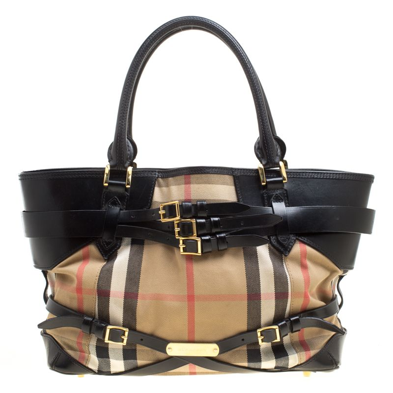 65b828e3c3a Burberry Beige Black House Check Canvas and Leather Medium Bridle Lynher  Tote