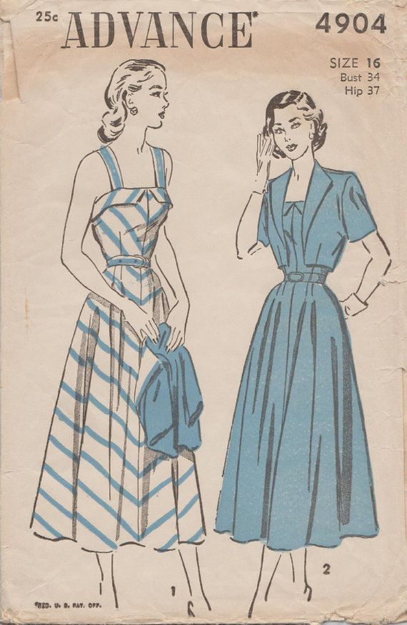 Vintage 40s Sewing Pattern / Advance 4904 / Dress And Bolero Jacket ...
