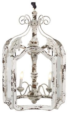 Amelie White Wash Shabby Chic Country Lantern Pendant
