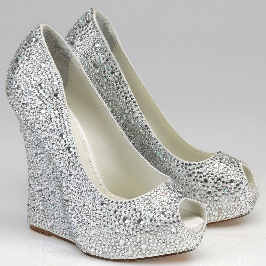 silver rhinestone wedge shoes above silver wedge bridesmaid