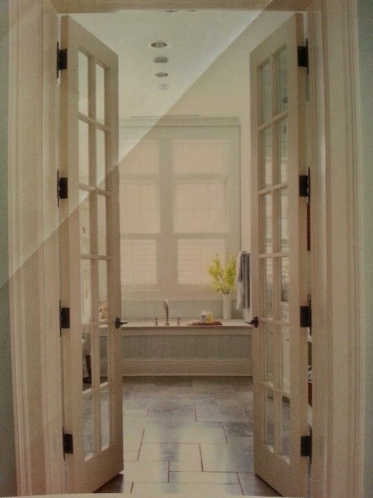 French doors to bathroom but open onto bedroom to give more room in bathroom for mary - Small french doors for bathroom ...