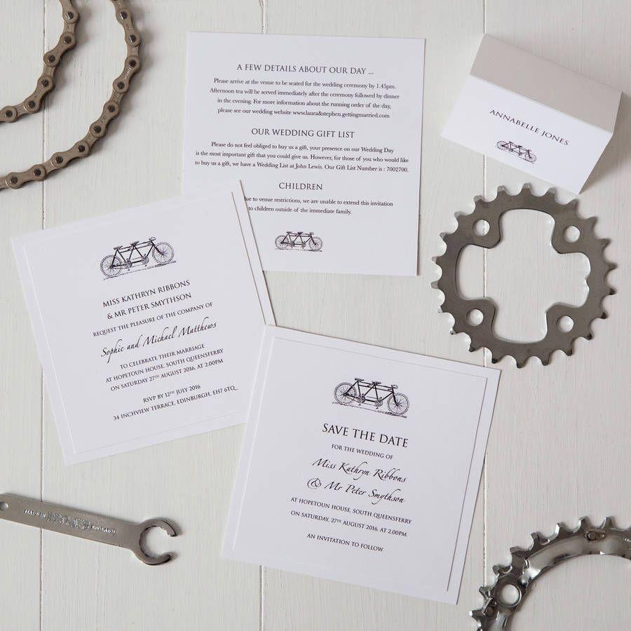 Tandem Bicycle Wedding Invitation | Tandem, Tandem bikes and Weddings
