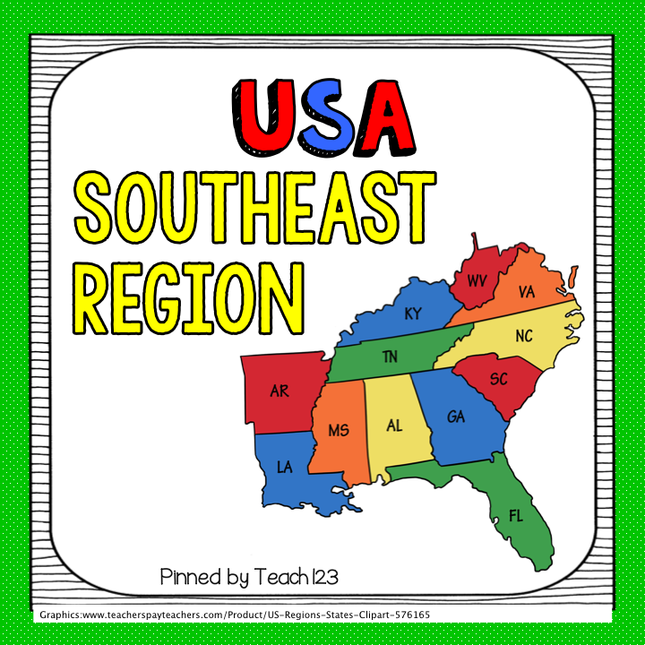 USA Southeast Region facts about the states. A+ Dr