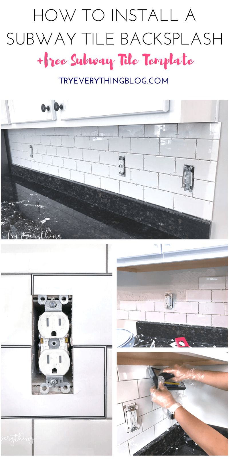 How to Install a Subway Tile Backsplash (+FREE Subway Tile Template ...