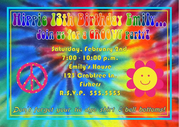 DIGITAL Tie Dye Hippie Birthday Party Photo Invitation 2 Thank You Cards U0026  Candy Bar Wrappers Available Too
