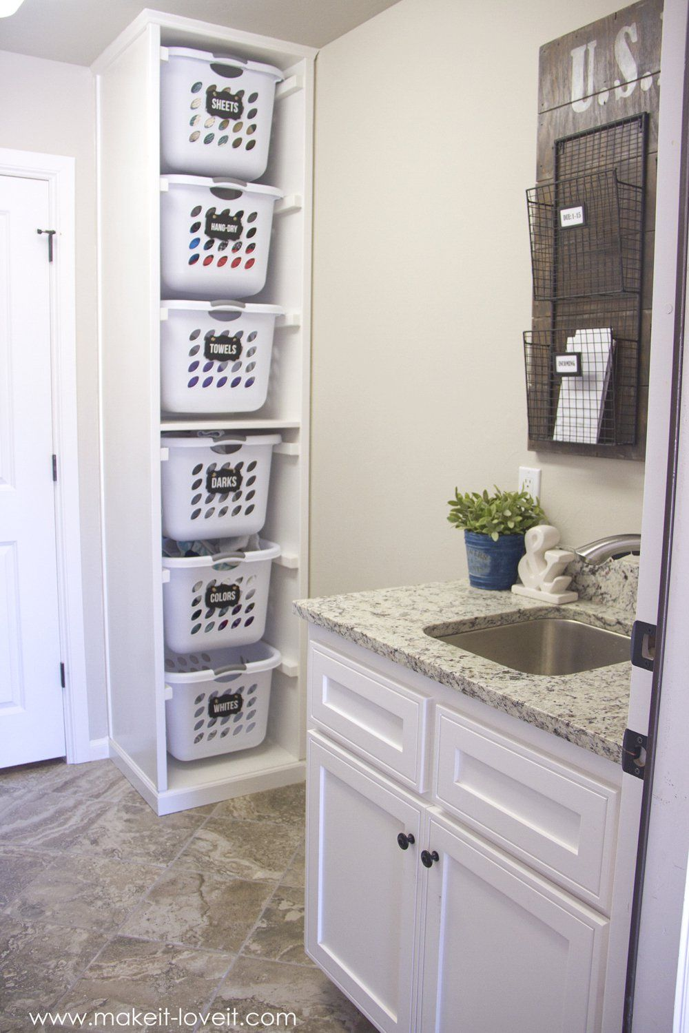 Wall Mounted Mail Organizer From Scrap Wood Laundry Basket
