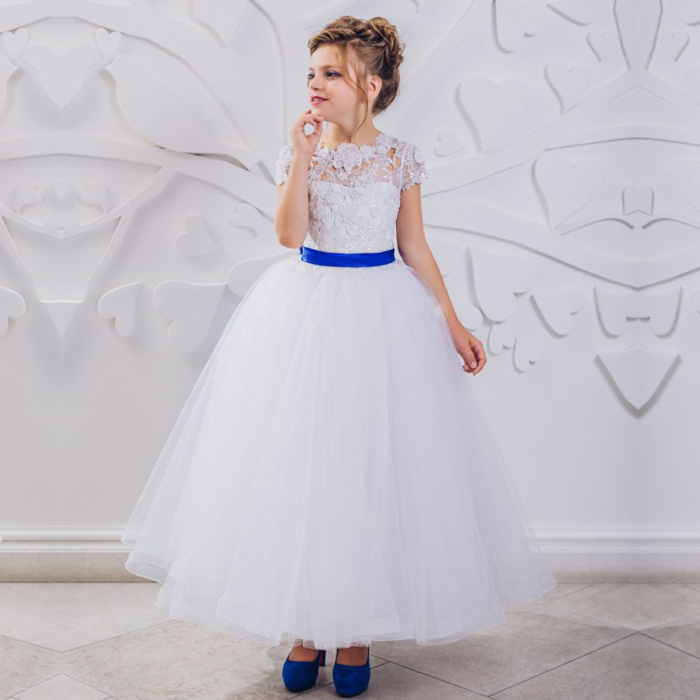 Click to Buy << beautiful a-line white and royal blue flower girl