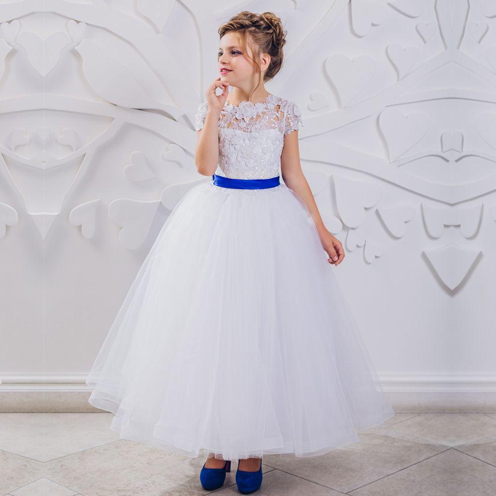 Click To Buy Beautiful A Line White And Royal Blue Flower Girl Dresses Vestido De Daminha Kids Evening Gowns Flower Girl Dresses Flower Girl Dresses Blue [ 1000 x 1000 Pixel ]