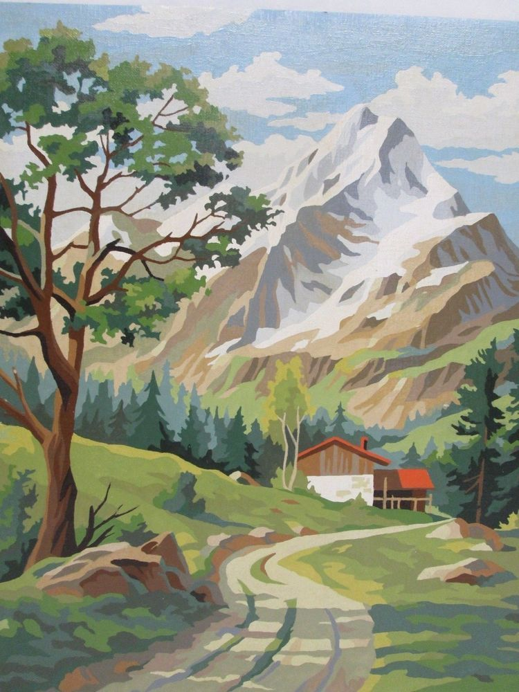 Vintage Paint By Number Pbn Painting Mountains House Home Tree