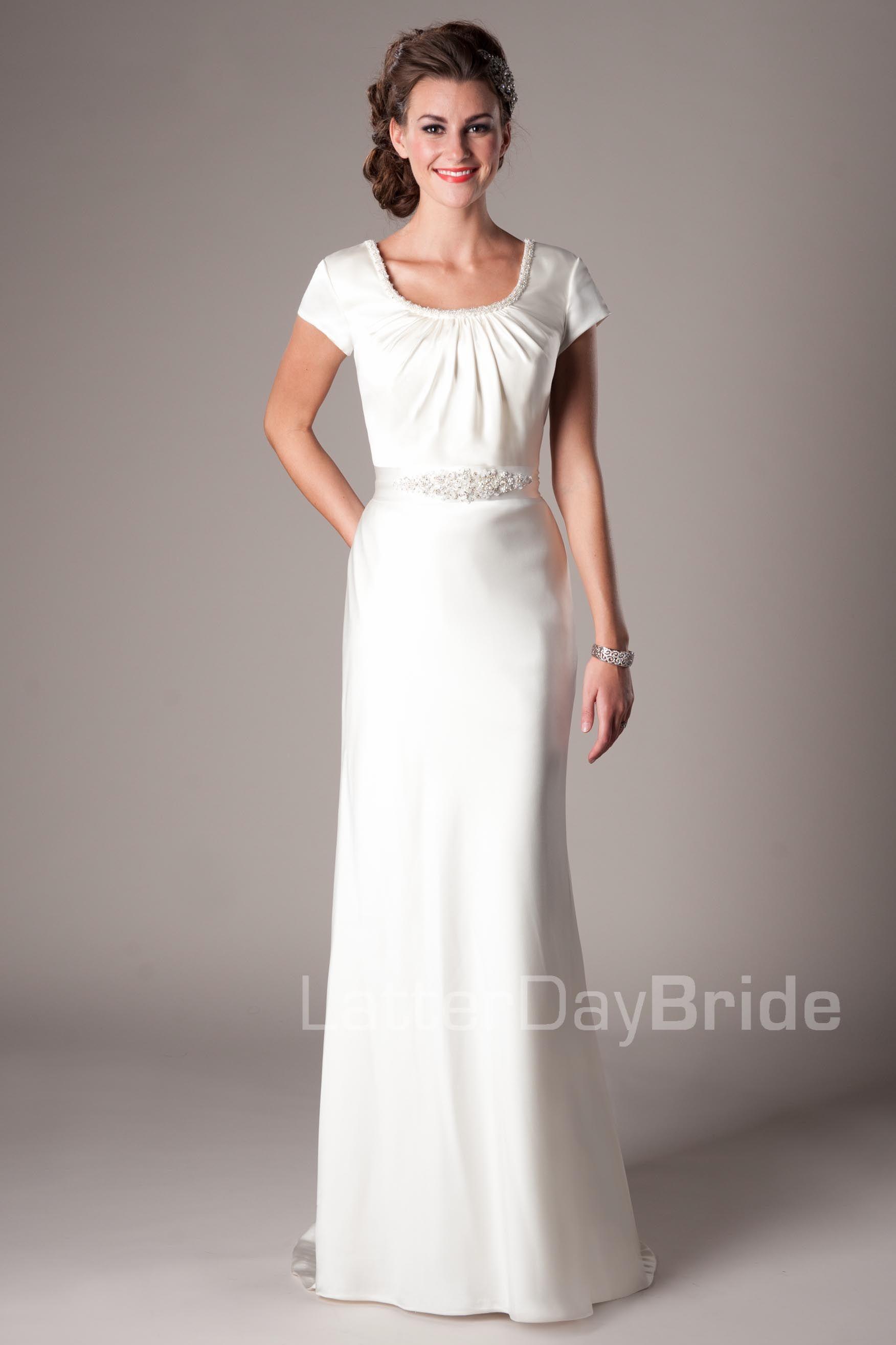 Arezzo modest wedding dress latter day bride prom for Latter day wedding dresses