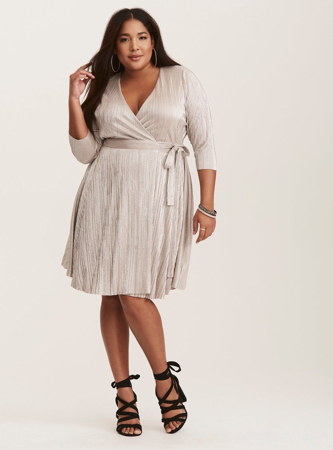 Silver Metallic Pleated Wrap Dress / Torrid / Plus Size ...