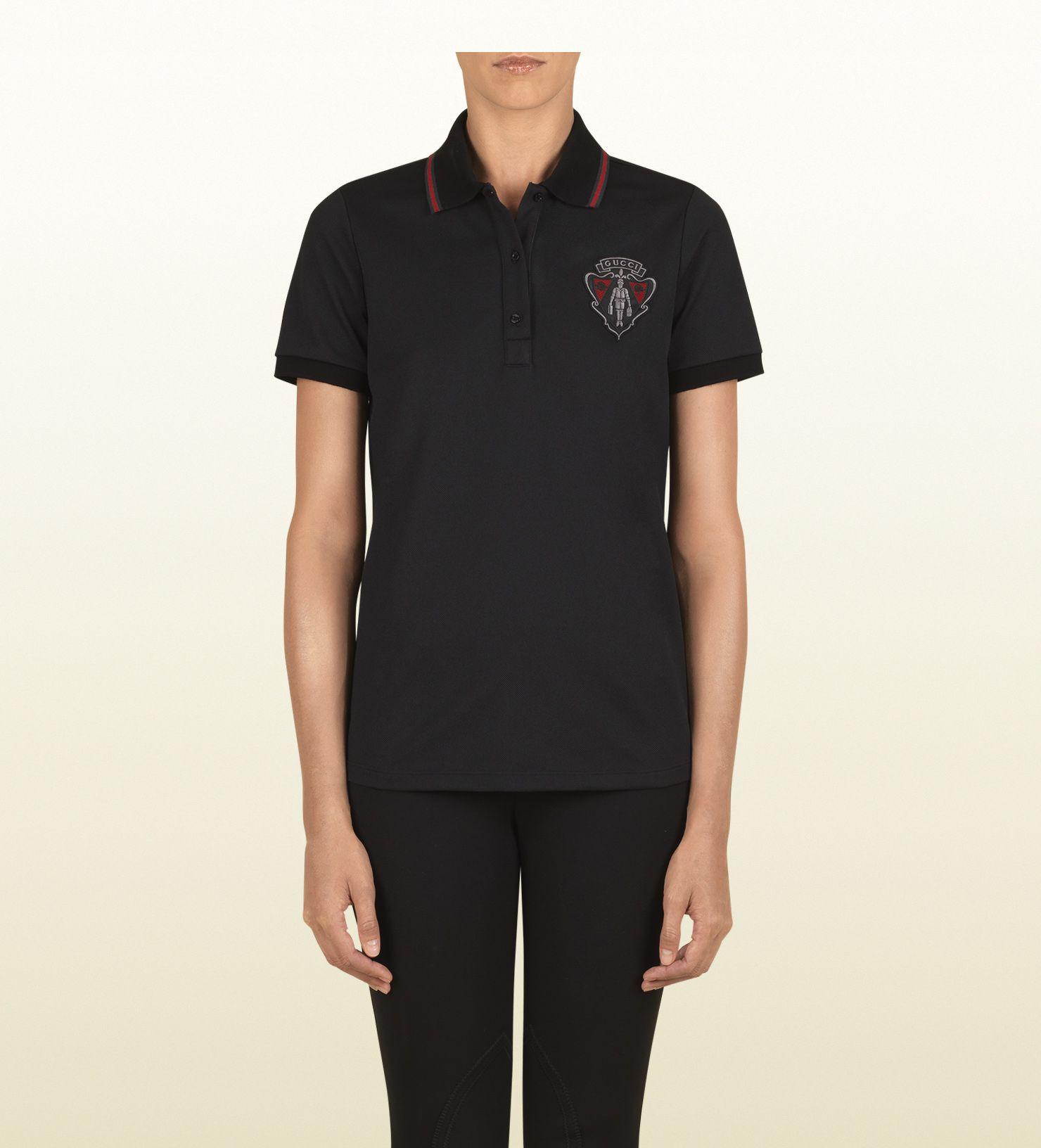 #gift Gucci polo nera a manica corta con gucci crest collezione equestrian  nero