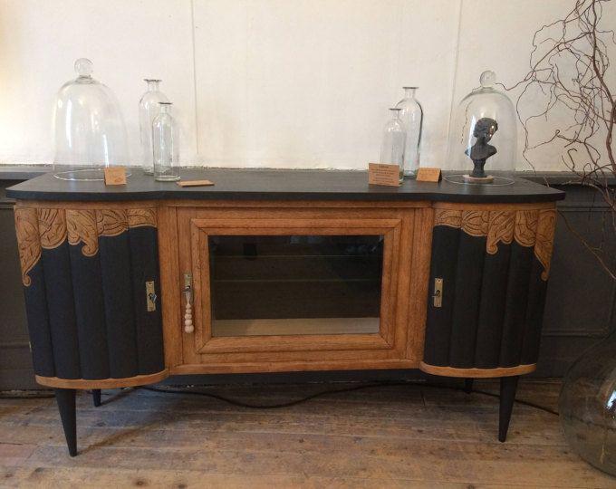 Buffet Noir Et Bois Revisite Relooker Meuble Mobilier De Salon Relooking Meuble