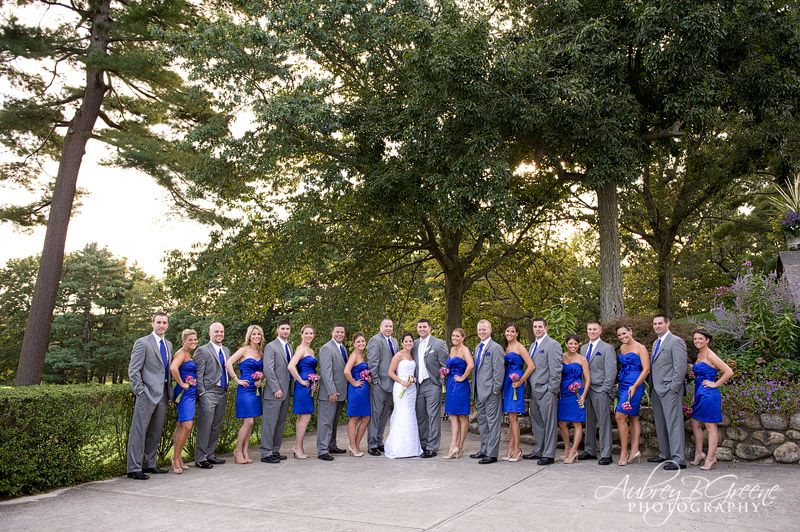 Royal blue bridesmaid dresses, grey suit, wedding party, pink ...