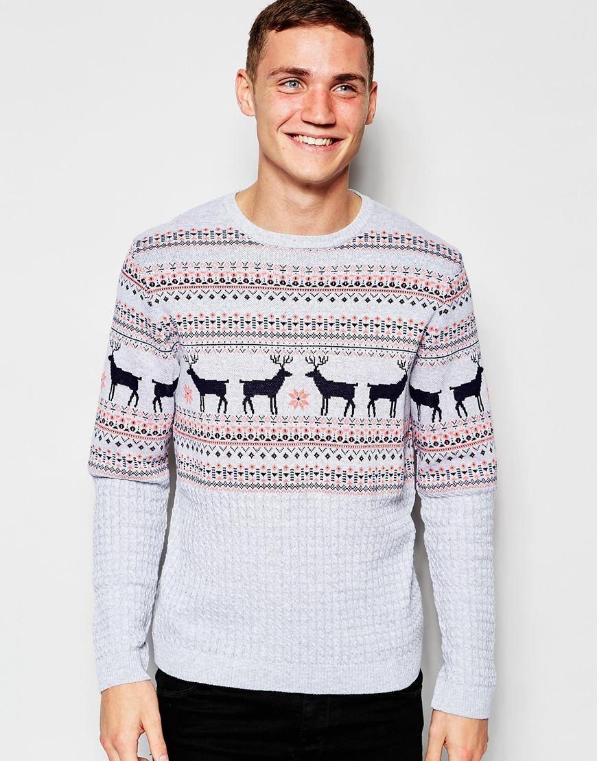 vendita calda online 0029b de213 Maglione natalizio con lavorazione a trecce e cervi ...