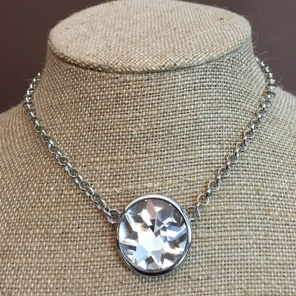 """Silver Tone Necklace Set Silver tone metal chain necklace with 3""""L extender chain for ease of styling. Matching post clear Crystal like earrings included. Jewelry Necklaces"""