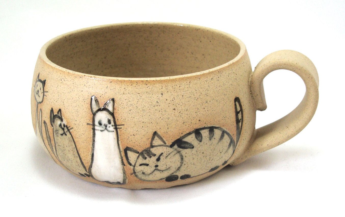 Cats Cup Cute Cats Cereal Cup Breakfast Child Bowl Wide Cats