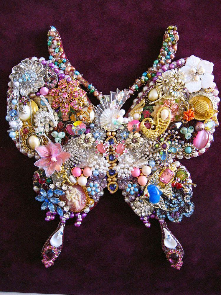 flutterby butterfly mosaic vintage jewelry art sculpture framed 20 x 20   585 00  via etsy