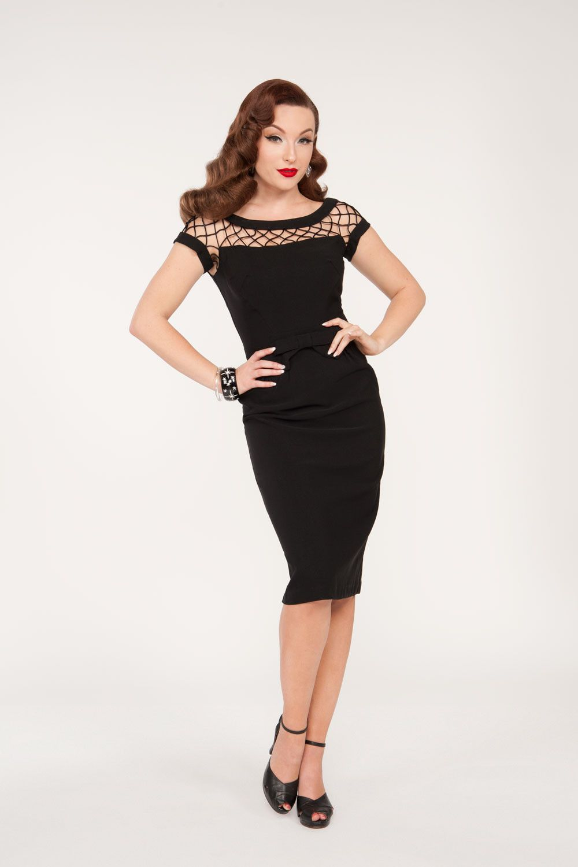 Final sale alika pencil dress in black pinup girl clothing