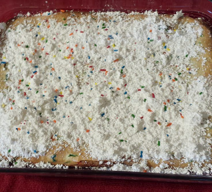 """Gooey Butter Coffeecake! """"Whenever I have made this for potlucks everyone always wants the recipe. Quick and easy.""""  @allthecooks #recipe"""