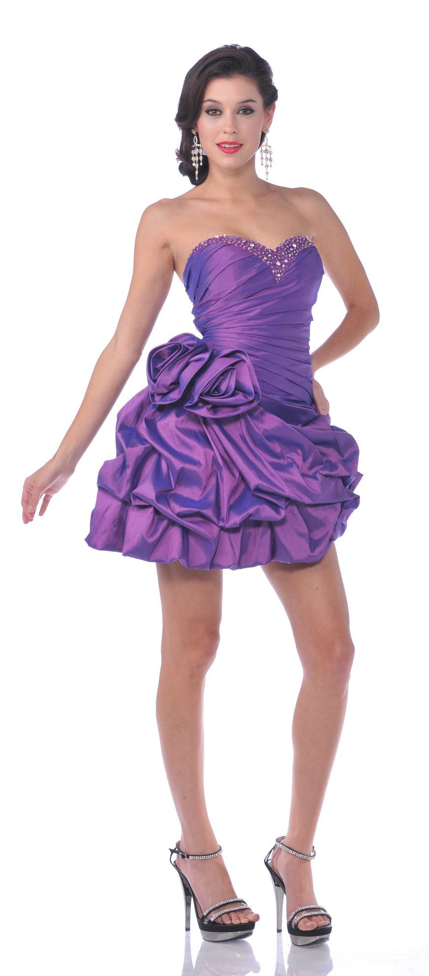 Purple prom gown short poofy pick up skirt rhinestone strapless