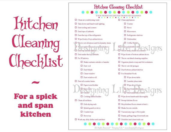 Kitchen Cleaning Checklist - PDF Printable - Home Management Sheet ...