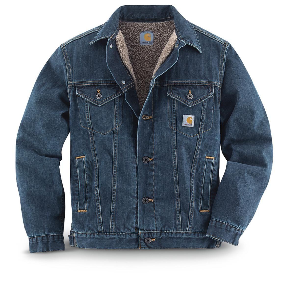 Carhartt Sherpa Lined Work Clothes Jean Jacket Authentic Blue Lined Denim Jacket Denim Jacket Men Carhartt Jacket [ 1154 x 1154 Pixel ]
