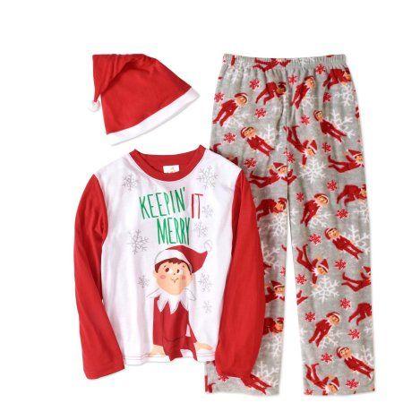 6b4f7be4 Elf on the Shelf Boys' or Girls' Unisex Family Sleep 3pc Pajamas Set with  Hat, Size: 10, Red